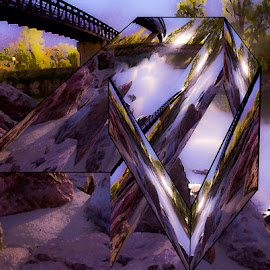 River and Bridge by Nick Higer - Digital Art Abstract