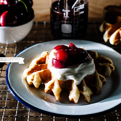 Buttermilk Waffle Recipe with Bourbon Cherry Sauce
