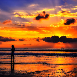 Take a Moment by Indrawaty Arifin - Landscapes Sunsets & Sunrises ( silhouette, sunset, sea, beach )