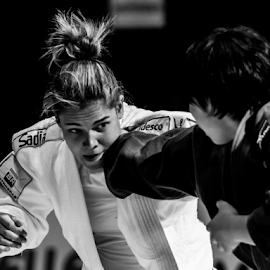 Judo model by Alessandro Ciannarella - Sports & Fitness Other Sports ( person, b&w, woman, alcianna photo; judo; sport; portrait; b&w; women; final; european open 2014; eju media group; palafijlkam, portrait )