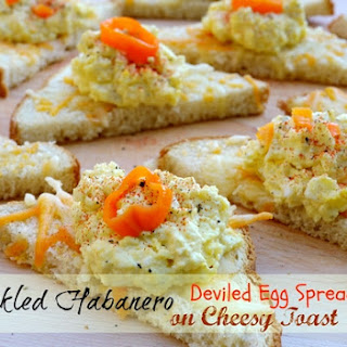 Pickled Habanero Deviled Egg Spread on Cheesy Toast