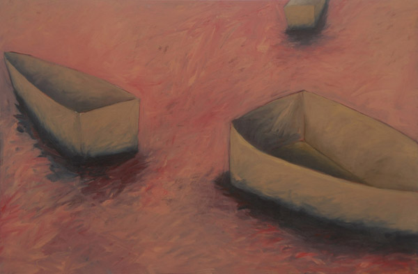 Pink Boats<br><br> Acrylic paint, pastel on canvas<br><br> 24 x 36 in