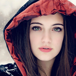 Winter's Fairytale by Darya Morreale - People Portraits of Women ( winter, snow, snowflakes, hooded cape, beautiful girl )