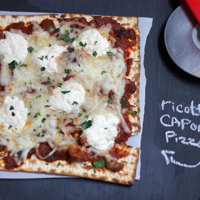 Ratatouille and Ricotta Matzah Pizza