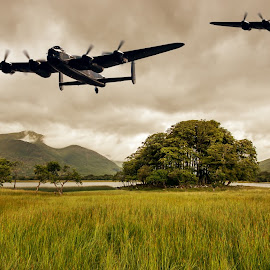Flying over Loch Awe by Sam Smith - Digital Art Places ( ww2, aviation, scotland, bombers, loch awe, avro lancaster )