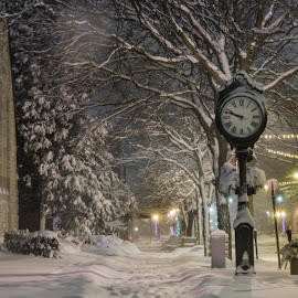 Quiet Night by Jarrod Kudzia - City,  Street & Park  Night ( winter, church, clock, snow, night, detroit, sidewalk, object )