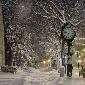 Quiet Night by Jarrod Kudzia - City,  Street & Park  Night ( winter, church, clock, snow, night, detroit, sidewalk, object )