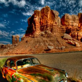 Dream Ride by Kent Moody - Landscapes Deserts ( car, sky, desert, buick, bluff )