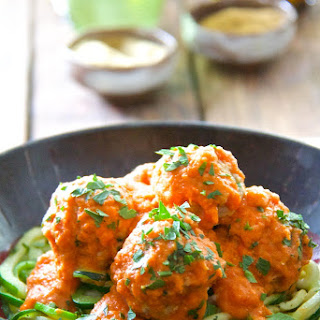 "Chicken Meatballs with Roasted Red Pepper - Chickpea Sauce and Zucchini ""Noodles"""