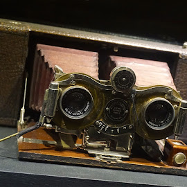 Old 3-D Camera by Norman Tan - Artistic Objects Technology Objects ( still life, camera, 3-d, antique, lens )