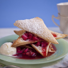 Strawberry-Rhubarb Napoleons with Creme Fraiche Ice Cream