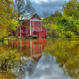 Prater's Mill Established 1855 by Sandy Friedkin - Landscapes Waterscapes ( water, mill, grist, reflections, 1855 )