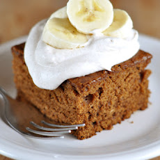 Gingerbread with Cinnamon Whipped Cream and Bananas