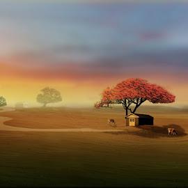 Dream Home by Rahul Phutane - Digital Art Places ( home, rahulphutane, rahul, sunset, digital art, landscape )