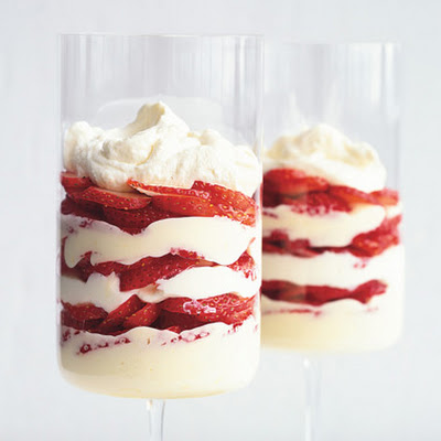 Lemon and White Chocolate Mousse Parfaits with Strawberries
