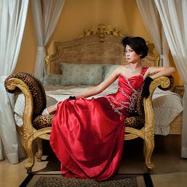 Beauty Bride in Red by Amin Basyir Supatra - Wedding Bride ( love, bali, red, indoor, prewedding, wedding, bride )