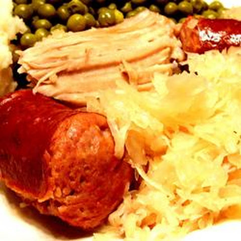Pork Roast with Sauerkraut and Kielbasa