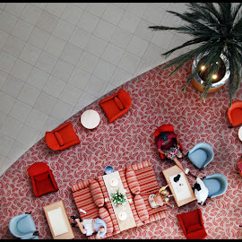 bill please by Ivan Sonnekus - Buildings & Architecture Other Interior ( chairs, waiting, coffee, carpet, wait, stripes, tea, people, tables, palm tree, red, tiles, tree, blue )