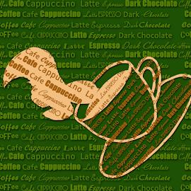 Coffee splash by Dipali S - Typography Words ( computer icon, creation, splash, symbol, espresso, swirl, coffee, illustration, wallpaper, print, coffee bean, frame, computer graphic, design element, coffee cup, brown, textured effect, design, steam )