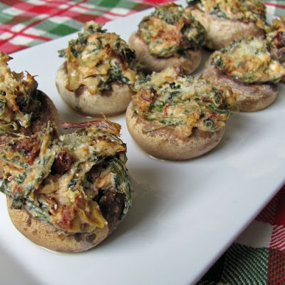 Artichoke & Sun-Dried Tomato Stuffed Mushrooms