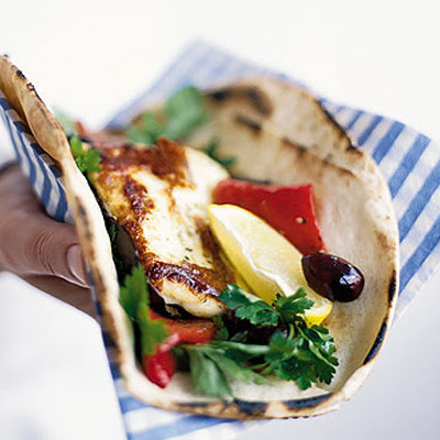 Roasted Pepper & Halloumi Wraps