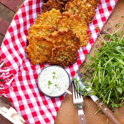 Sweet Corn & Pea Fritters with Pea Tendril Salad