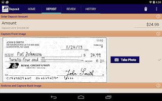 Screenshot of RCU Deposit