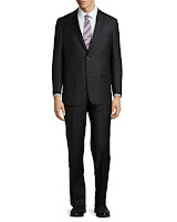 Hickey Freeman Solid Two-Button Two-Piece Suit, Black - (44R)