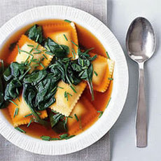 Beef Ravioli and Spinach Soup