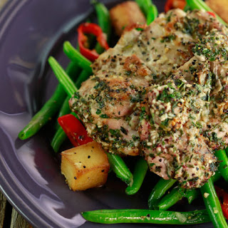 Za'atar Chicken with Garlicky Pan-Roasted Potatoes and Green Beans