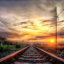 Sunset in Railway Track by Randi Pratama M - Transportation Railway Tracks ( center, railroad tracks, vertical lines, pwc, railway, sunset, railroad, indonesia, rail )