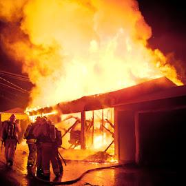 Garage Fire, South LA by Steve Bernard - News & Events US Events ( arson, firefighters, night, lacounty, fire )