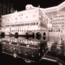 Refelction by Daniel Set - Buildings & Architecture Office Buildings & Hotels ( reflection, night, lake, venetian )
