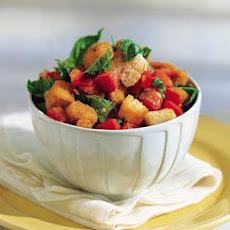 Tomato and Bread Salad with Deep-Fried Chicken Bites