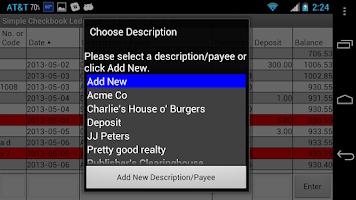 Screenshot of Simple Checkbook Ledger