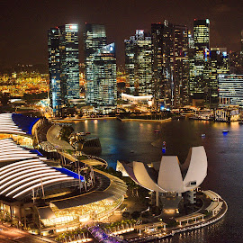 Marina Bay by night - Singapore by John Chung - City,  Street & Park  Skylines