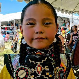 Pretty at the Pow Wow by Barbara Brock - News & Events US Events ( pow wow, american indian girl, native american child )
