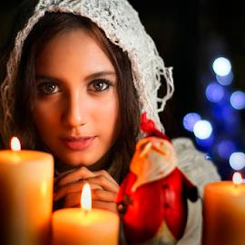 Merry Christmas by Ivan Lee - People Portraits of Women ( canon, candle, model, girl, beauty, bokeh )