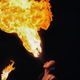 Dragon Fire by Govi Murillo - People Musicians & Entertainers ( flames, art, women, portrait, fire,  )