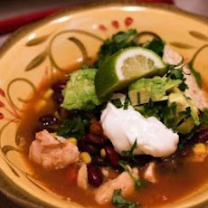 Busy Night Turkey Taco Soup with Avocado Cream