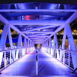 London Eye Pier by Lincoln Wallace - City,  Street & Park  Street Scenes ( purple, lighting, london eye pier, pier, river thames, creativity, art, artistic, mood factory, lights, color, fun )