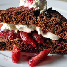 Chocolate Shortcakes with Vanilla Ice Cream, Strawberries and Fudge Sauce