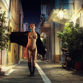 Kris  by Dmitry Laudin - Nudes & Boudoir Artistic Nude ( cat, street, lamp, night )