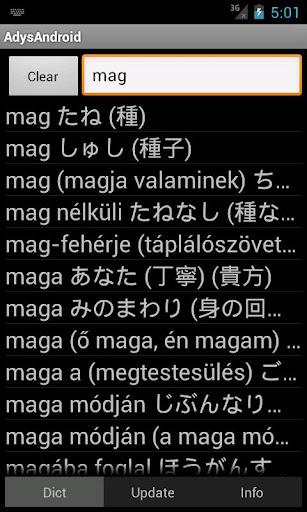 Dictionary Hungarian-Japanese