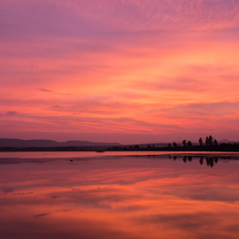 Red by Tobias Weller - Landscapes Sunsets & Sunrises ( water, reflection, red, sunset, california, lake almanor, reflections, usa )