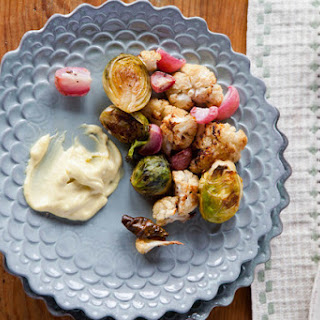 Roasted Brussels Sprouts, Cauliflower, and Radishes With Garlic Aioli From 'The Kitchn Cookbook'