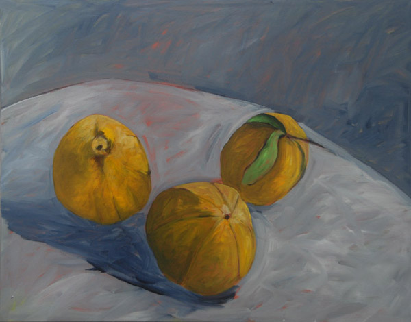 Three Lemons <br> Acrylic paint on canvas <br> 22 x 28 in