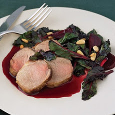Sauteed Beet Greens with Roasted Beets and Pork Tenderloin