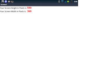 Screenshot of Screen Size