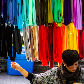 Color Full by Matt Goodwin - People Fashion ( sewing, market, farmers market, colorful, scarves )